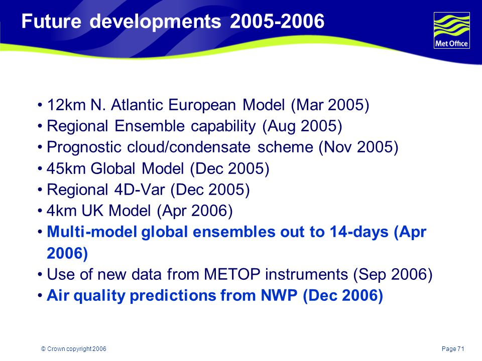Future developments km N. Atlantic European Model (Mar 2005) Regional Ensemble capability (Aug 2005)