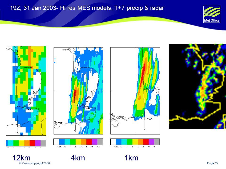 19Z, 31 Jan 2003- Hi res MES models. T+7 precip & radar