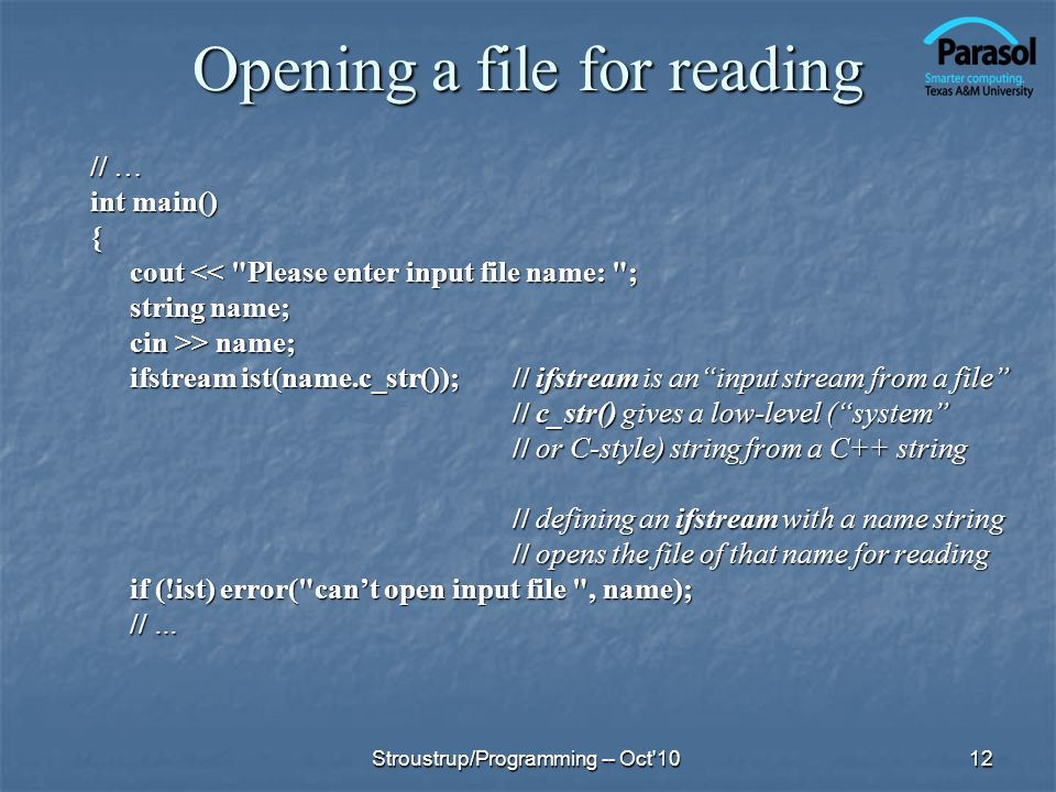 Opening a file for reading