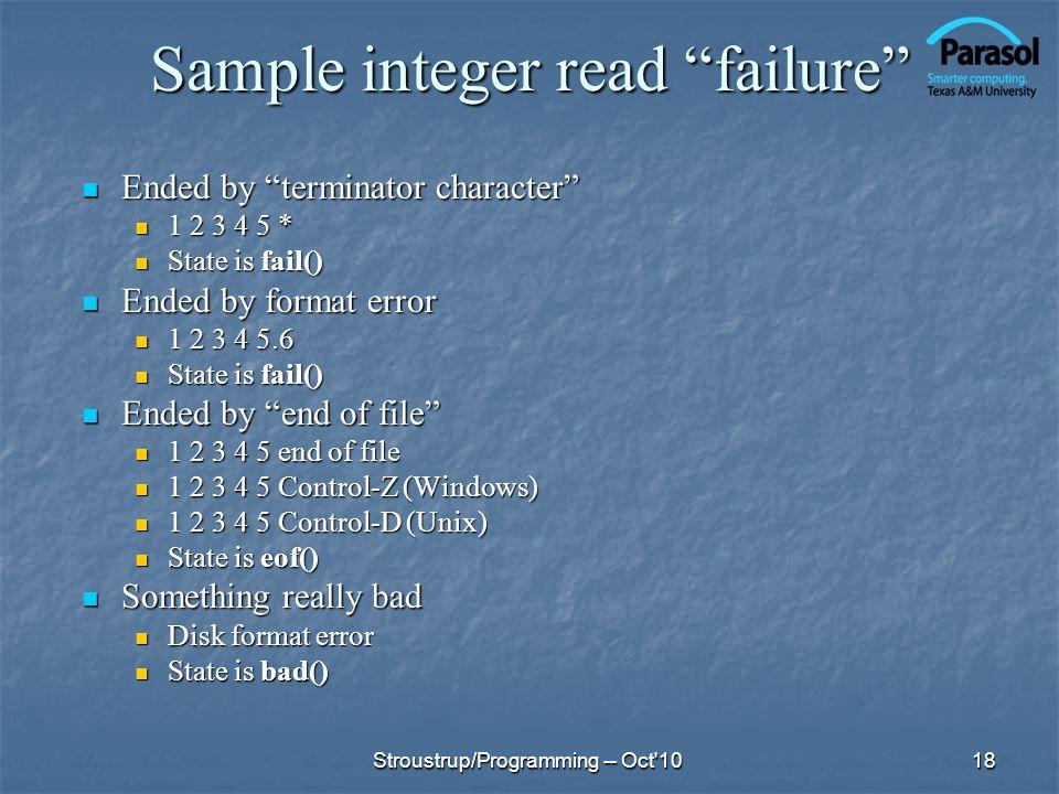 Sample integer read failure
