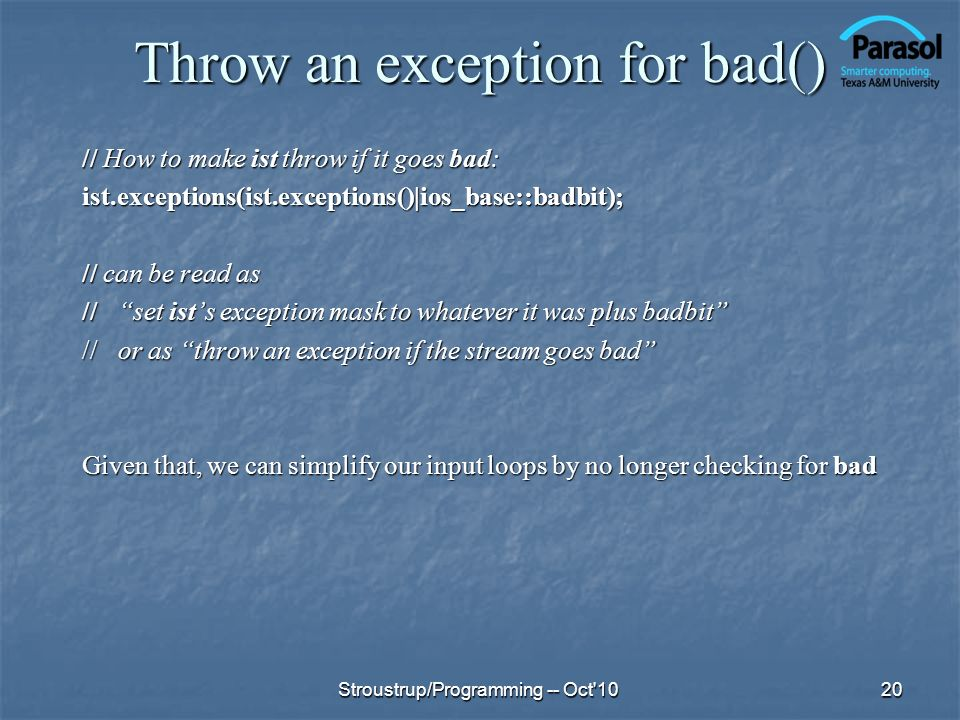 Throw an exception for bad()