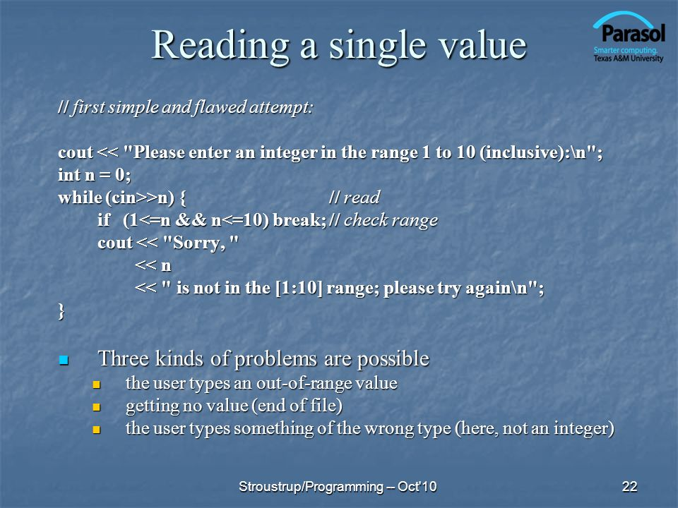 Reading a single value Three kinds of problems are possible