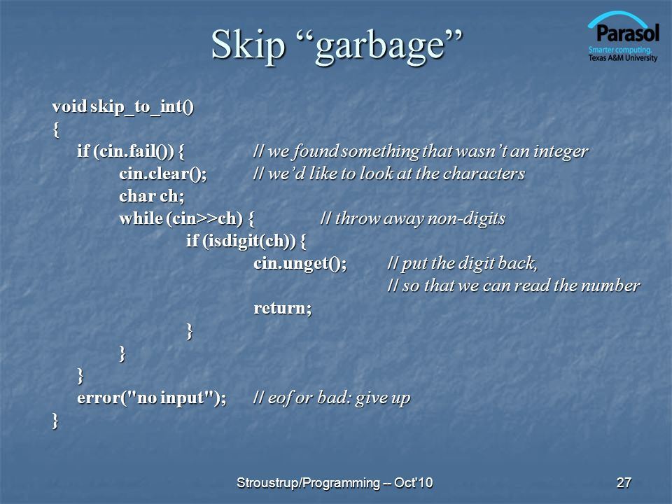 Skip garbage