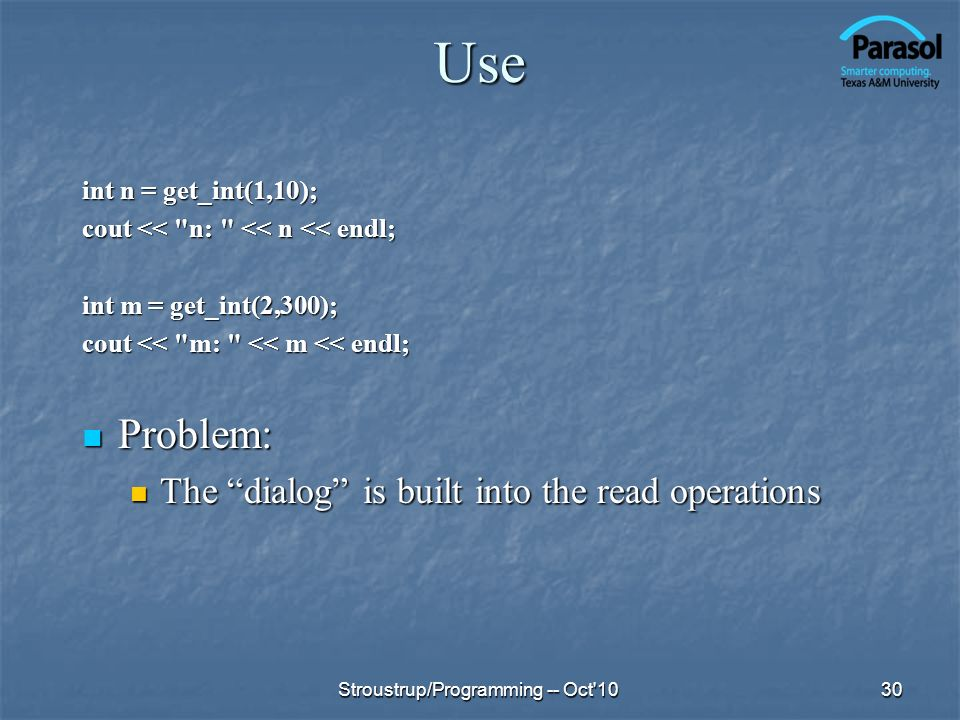 Use Problem: The dialog is built into the read operations