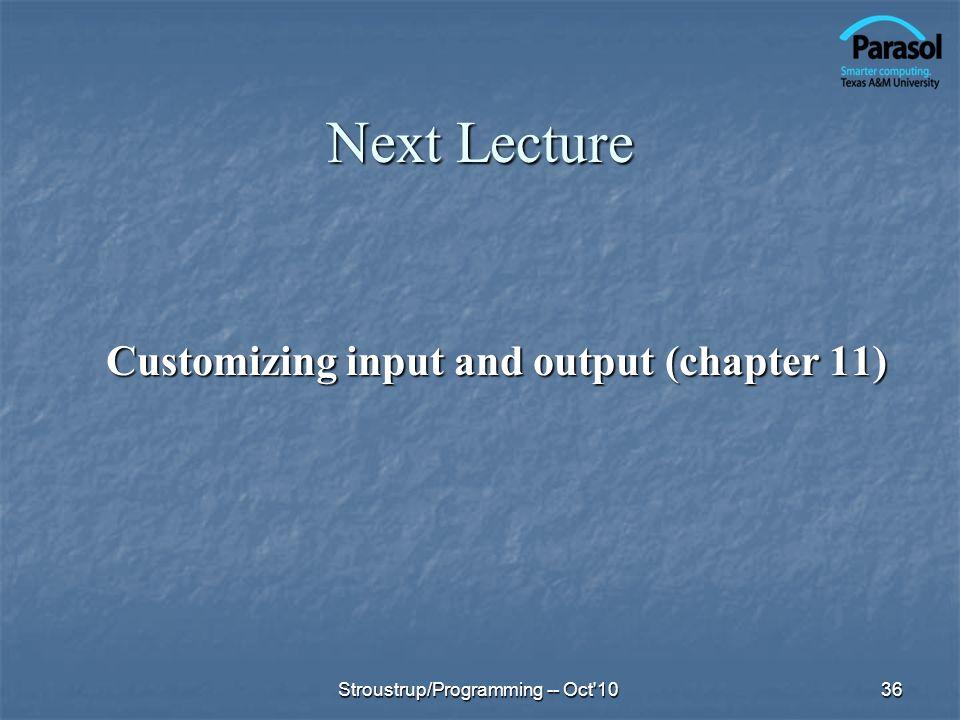 Customizing input and output (chapter 11)