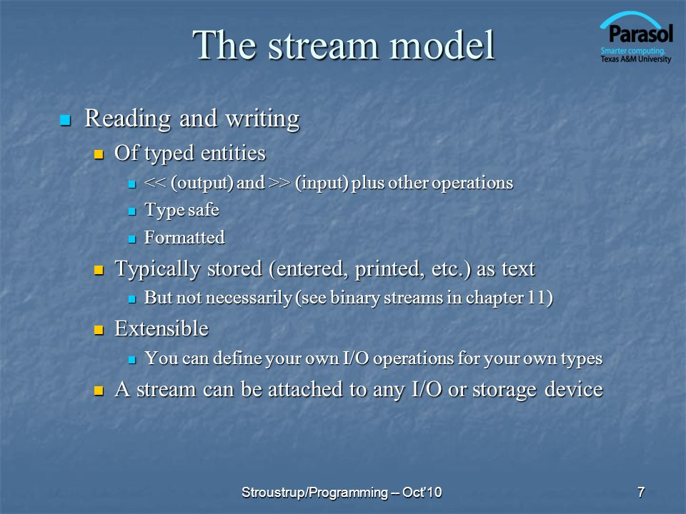 The stream model Reading and writing Of typed entities