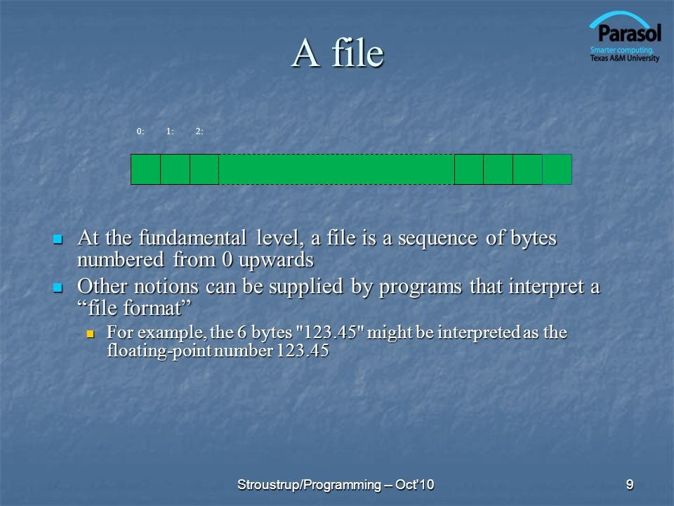A file 0: 1: 2: At the fundamental level, a file is a sequence of bytes numbered from 0 upwards.