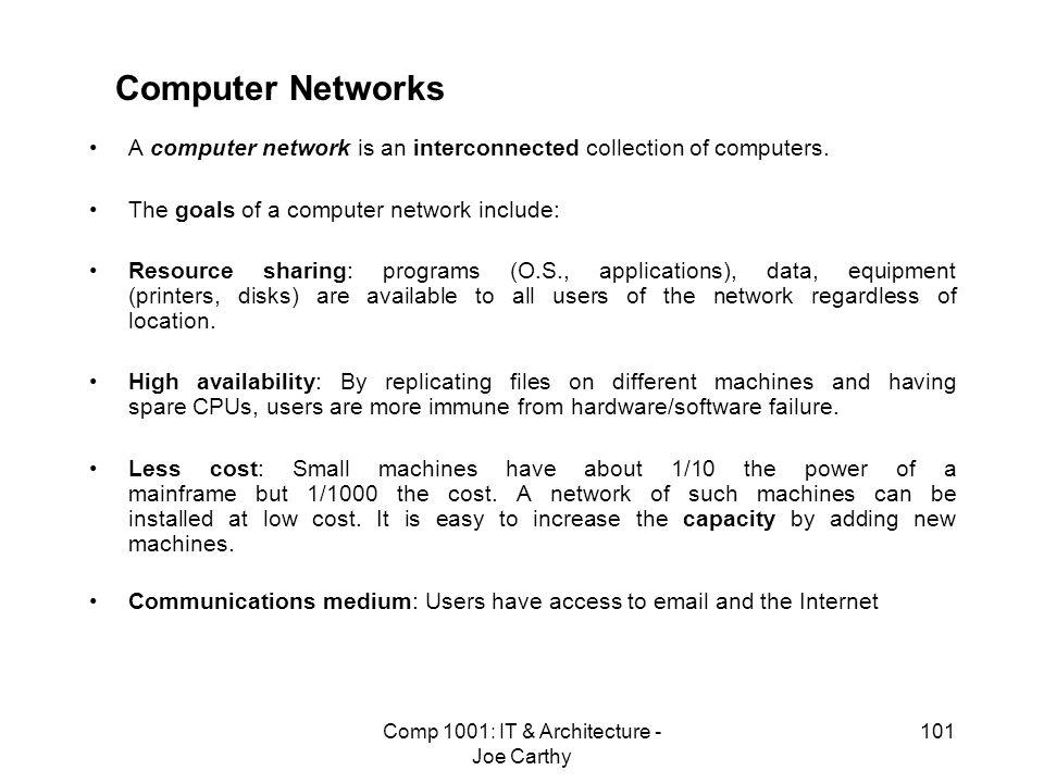 Comp 1001: IT & Architecture - Joe Carthy