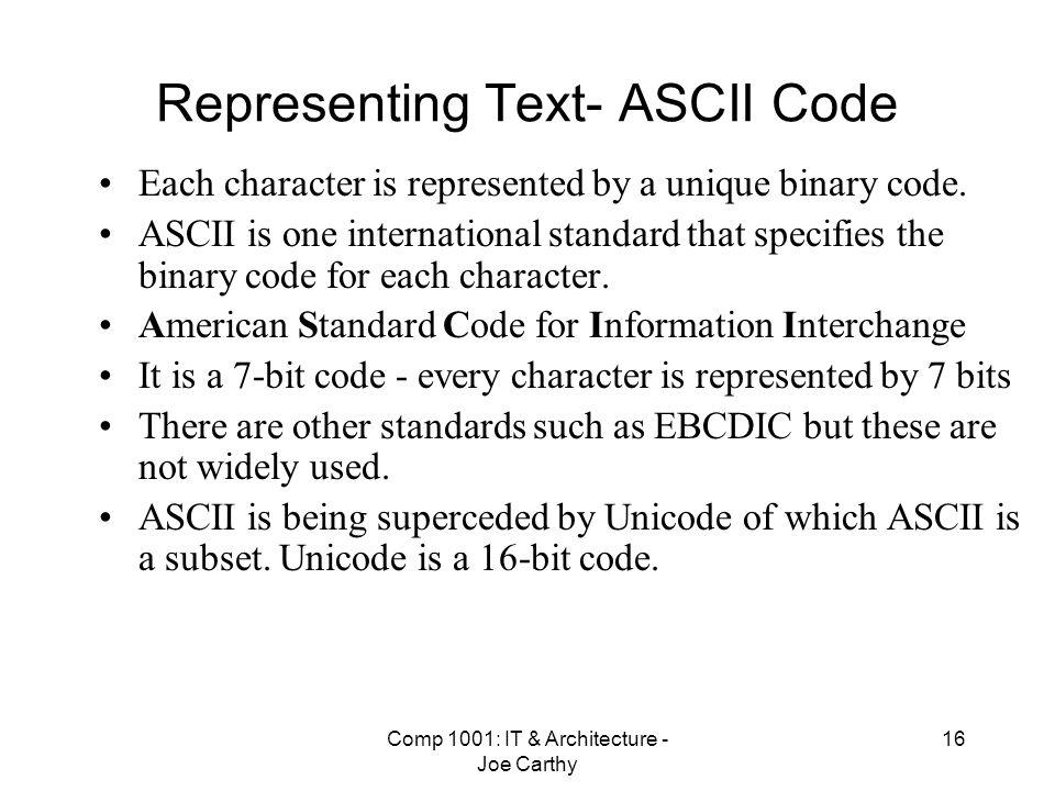 Representing Text- ASCII Code