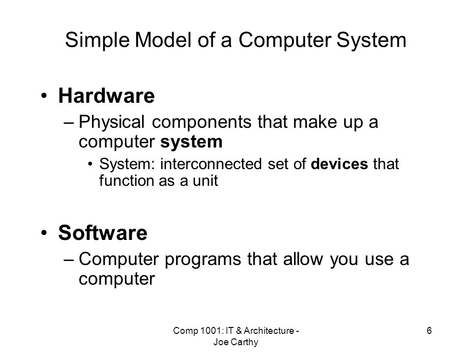 Simple Model of a Computer System