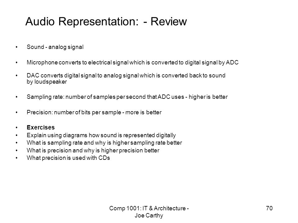 Audio Representation: - Review