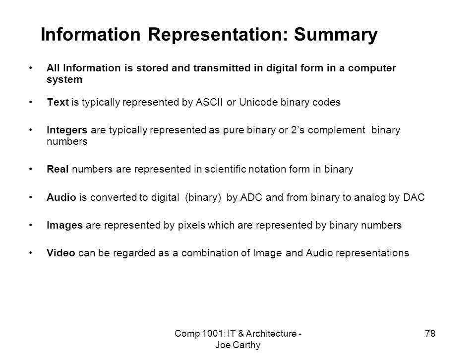 Information Representation: Summary