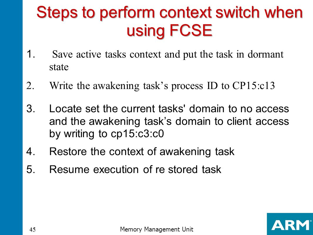 Steps to perform context switch when using FCSE