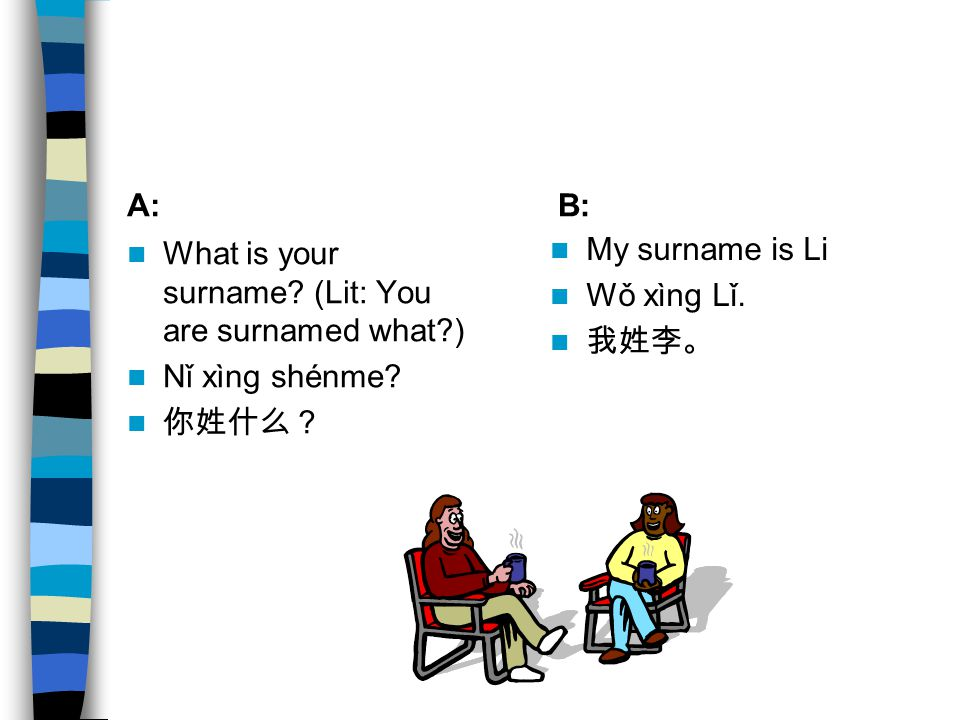 A: B: What is your surname (Lit: You are surnamed what ) Nǐ xìng shénme 你姓什么? My surname is Li.