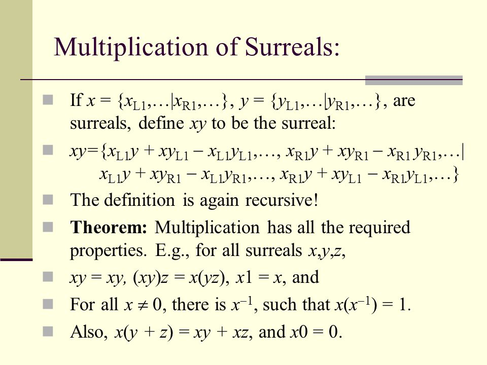Multiplication of Surreals: