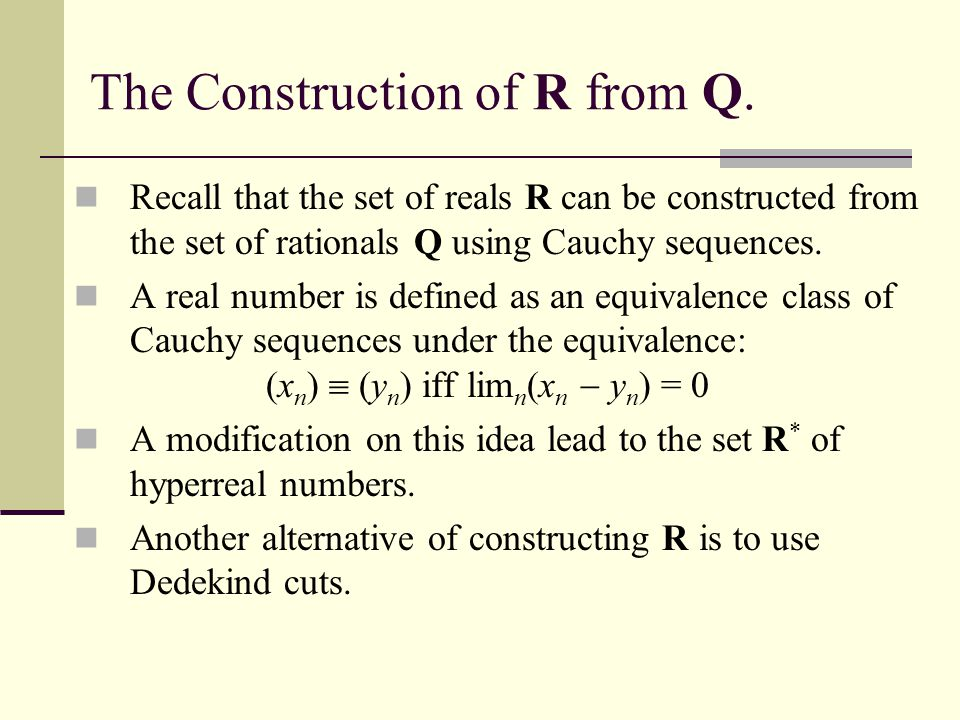 The Construction of R from Q.