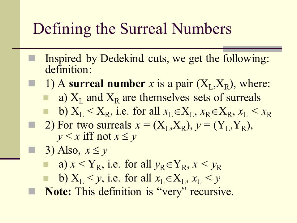 Defining the Surreal Numbers