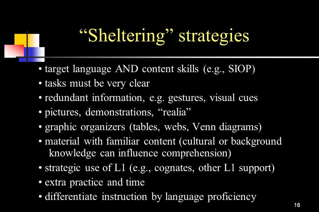 Sheltering strategies