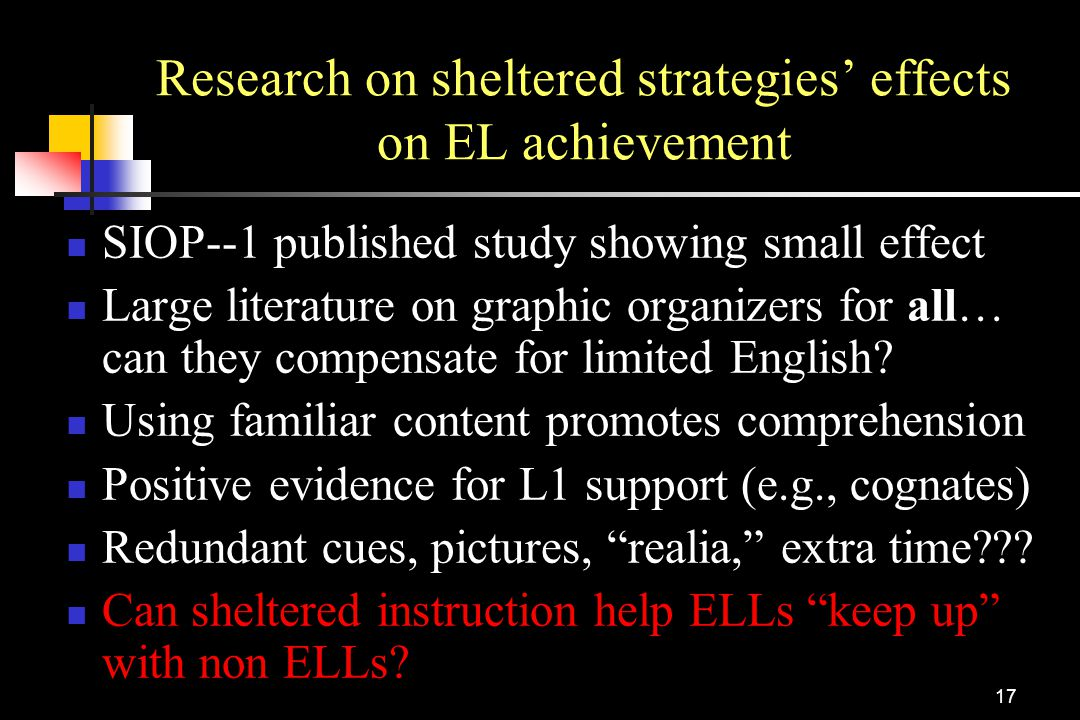 Research on sheltered strategies' effects on EL achievement