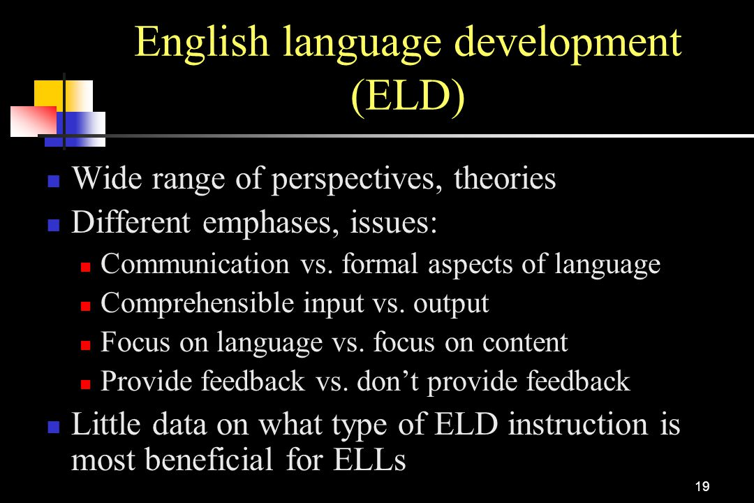English language development (ELD)