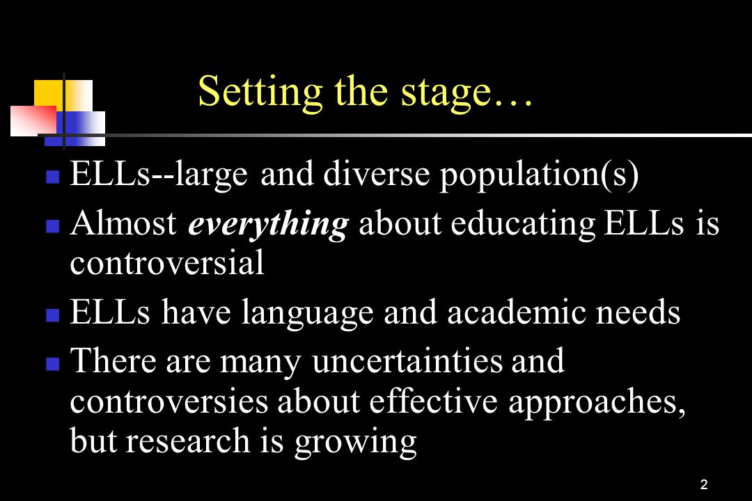 Setting the stage… ELLs--large and diverse population(s)