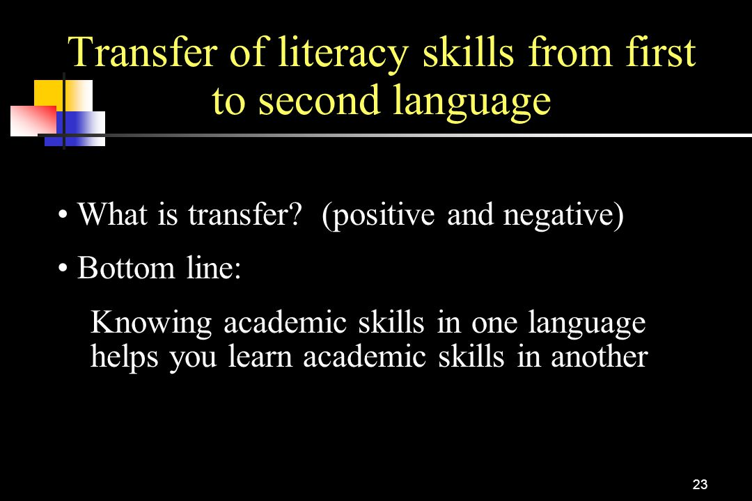 Transfer of literacy skills from first to second language