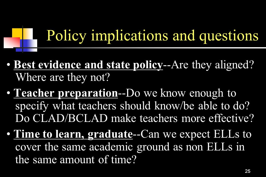 Policy implications and questions