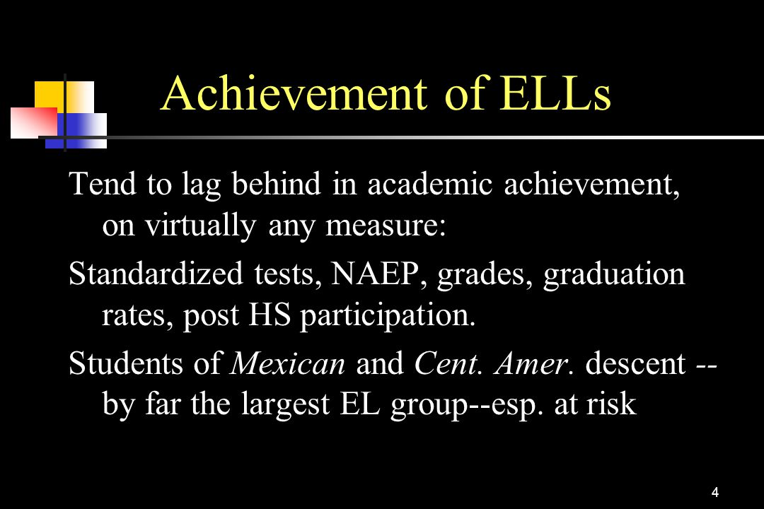 Achievement of ELLs Tend to lag behind in academic achievement, on virtually any measure: