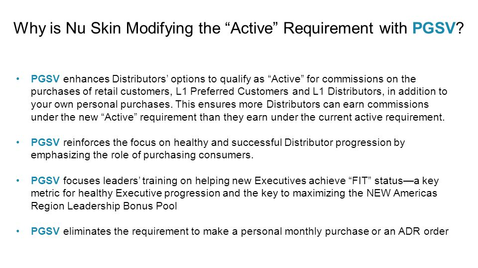 Why is Nu Skin Modifying the Active Requirement with PGSV