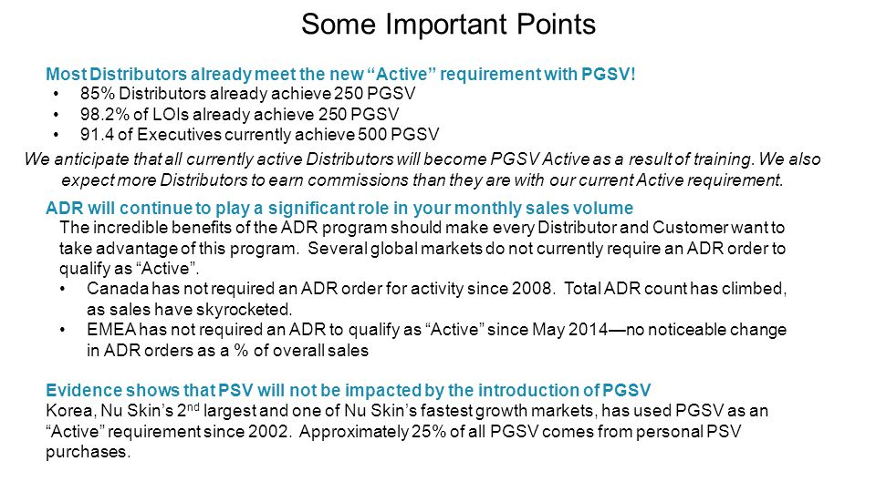 Some Important Points Most Distributors already meet the new Active requirement with PGSV! 85% Distributors already achieve 250 PGSV.