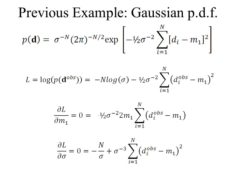 Previous Example: Gaussian p.d.f.