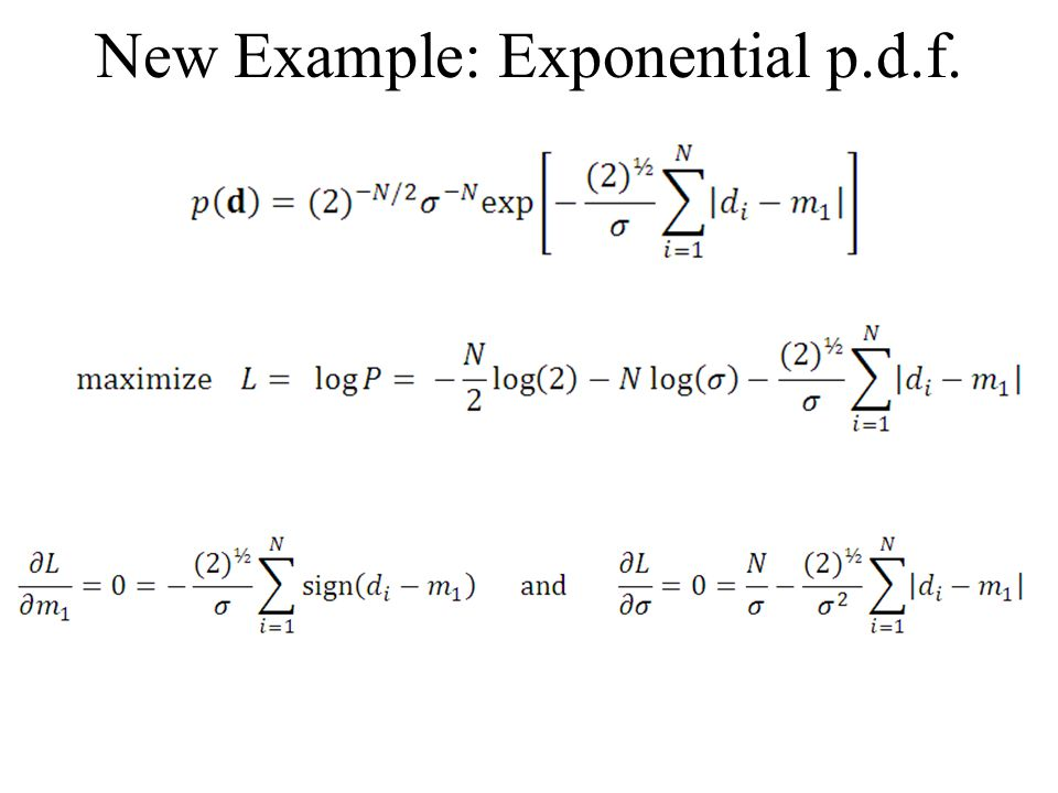 New Example: Exponential p.d.f.
