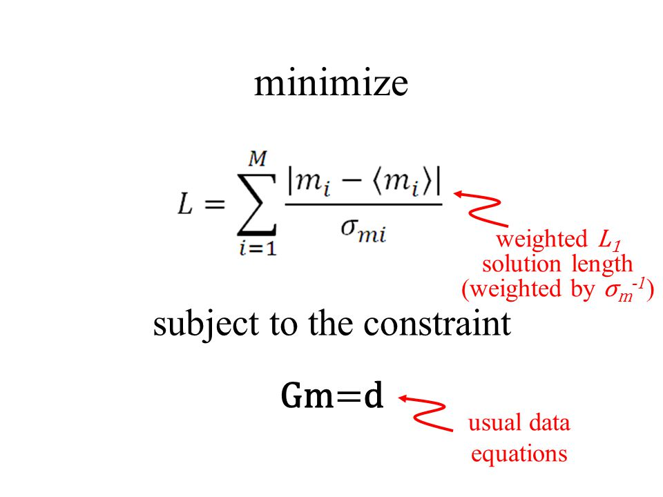 minimize subject to the constraint Gm=d weighted L1 solution length