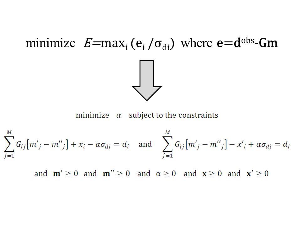 minimize E=maxi (ei /σdi) where e=dobs-Gm