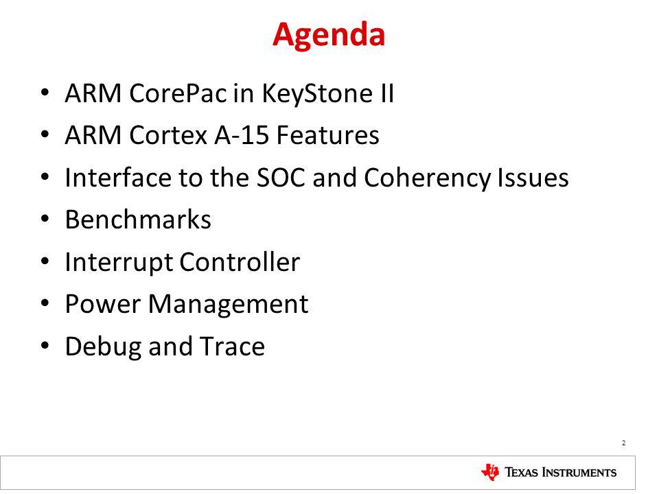 Agenda ARM CorePac in KeyStone II ARM Cortex A-15 Features