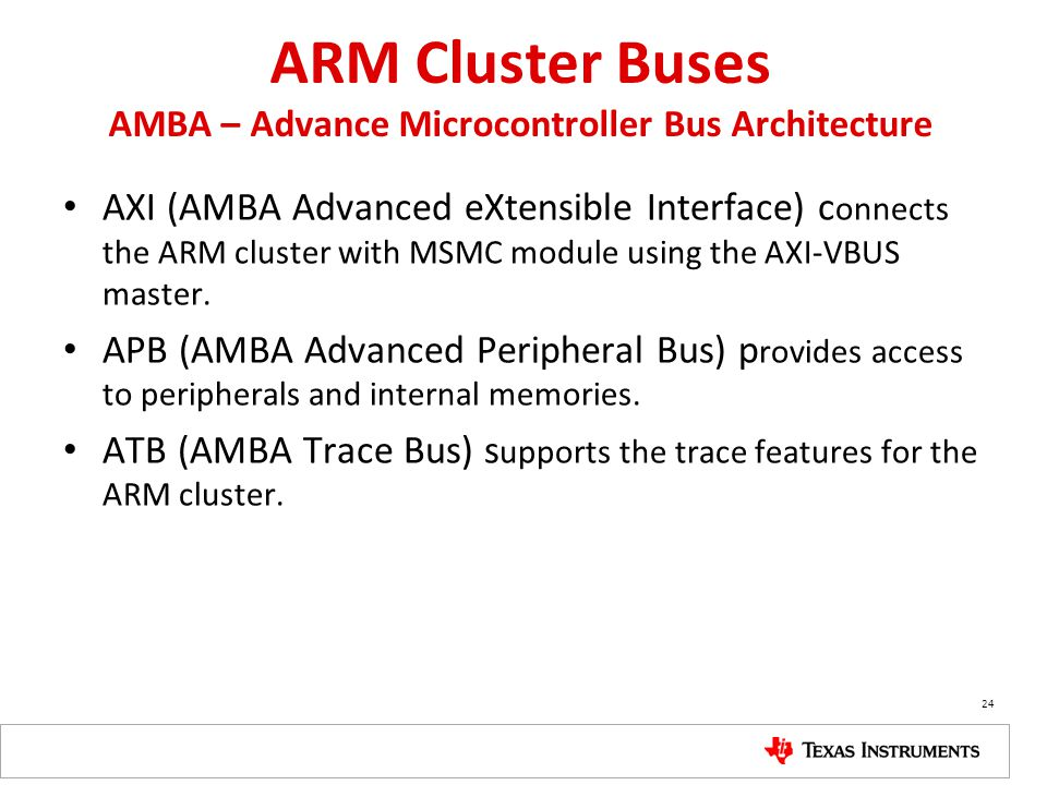 ARM Cluster Buses AMBA – Advance Microcontroller Bus Architecture