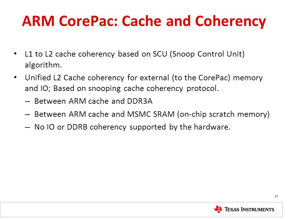 ARM CorePac: Cache and Coherency
