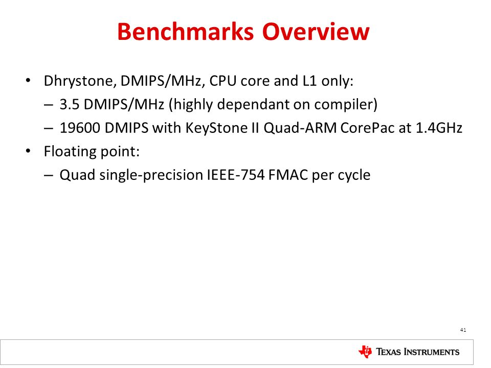 Benchmarks Overview Dhrystone, DMIPS/MHz, CPU core and L1 only: