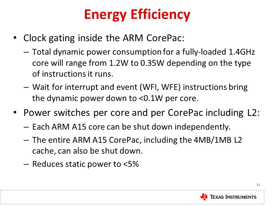 Energy Efficiency Clock gating inside the ARM CorePac: