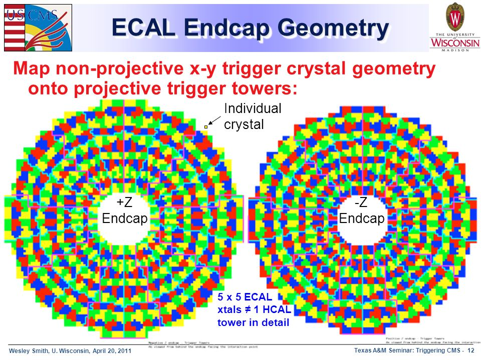 ECAL Endcap Geometry Map non-projective x-y trigger crystal geometry onto projective trigger towers: