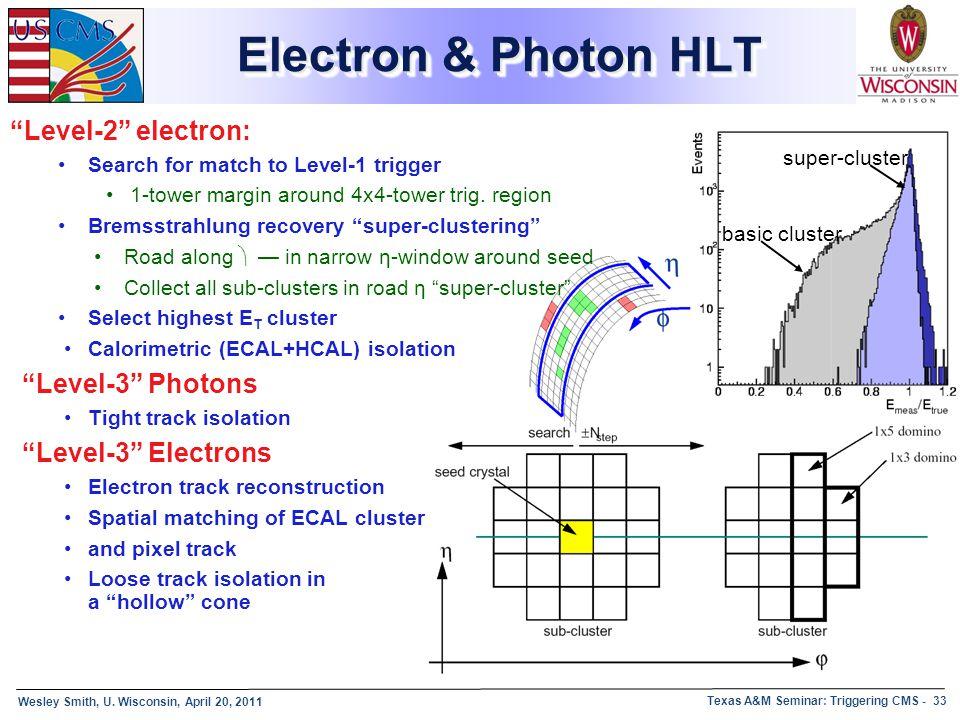 Electron & Photon HLT Level-2 electron: Level-3 Photons