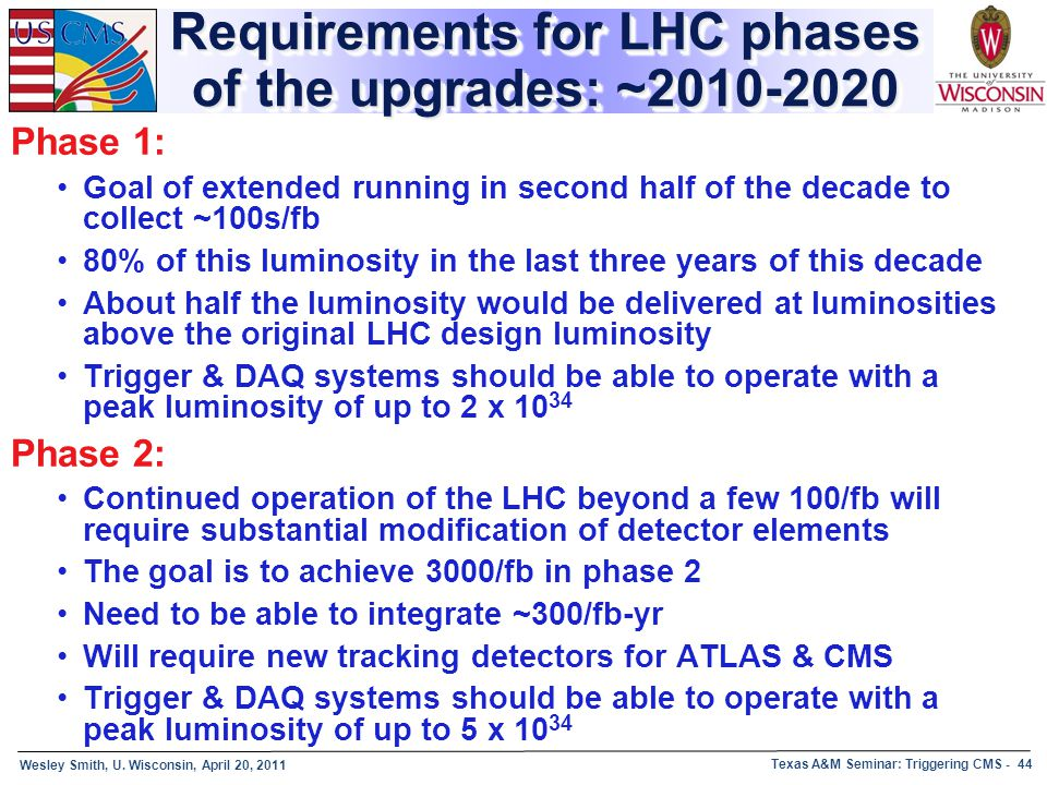 Requirements for LHC phases of the upgrades: ~2010-2020
