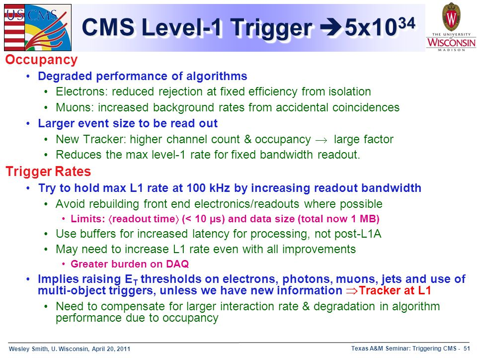 CMS Level-1 Trigger 5x1034 Occupancy Trigger Rates