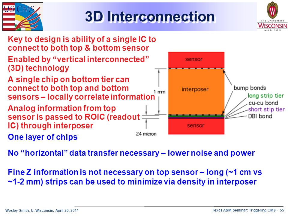 3D Interconnection Key to design is ability of a single IC to connect to both top & bottom sensor.