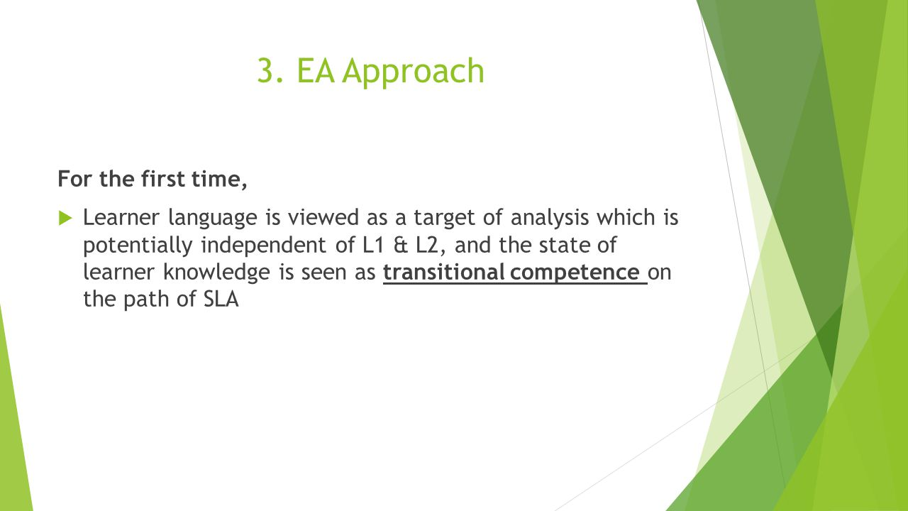3. EA Approach For the first time,