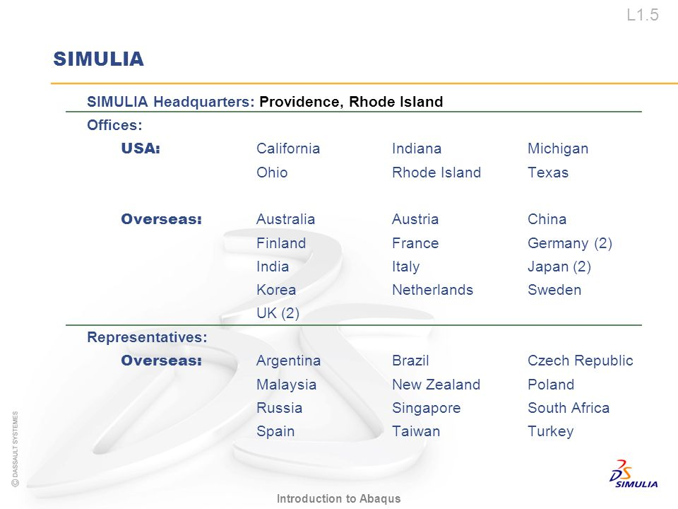 SIMULIA SIMULIA Headquarters: Providence, Rhode Island Offices:
