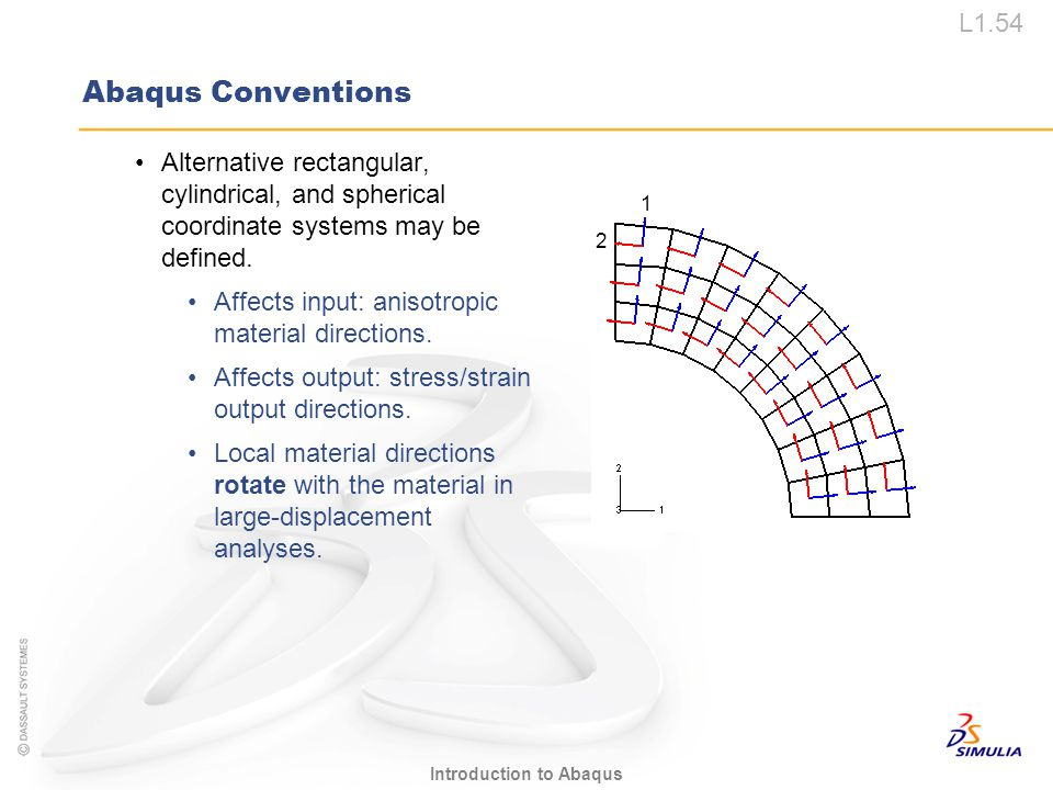 Abaqus Conventions Alternative rectangular, cylindrical, and spherical coordinate systems may be defined.