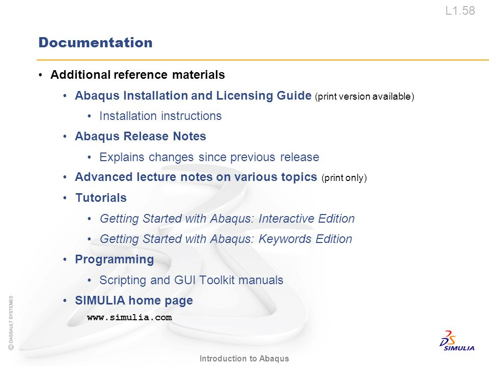 Documentation Additional reference materials