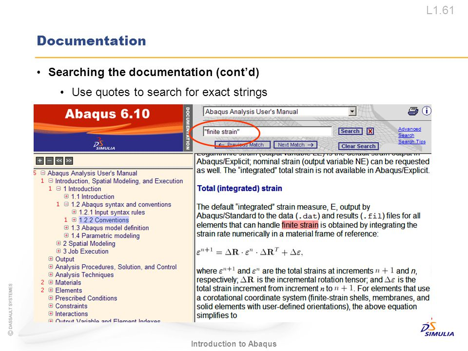 Documentation Searching the documentation (cont'd)
