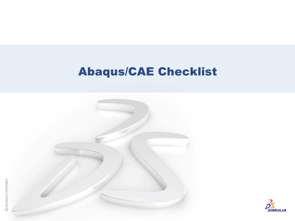 Abaqus/CAE Checklist